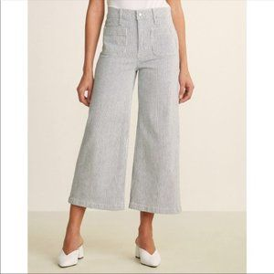 J. Crew Point Sure Wide Leg Crop Jeans Pinstriped